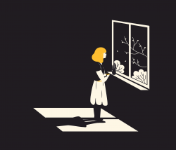 An illustration shows a women looking out the window with a contemplative look.