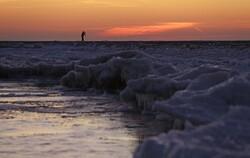 Lake Michigan waterfront in January