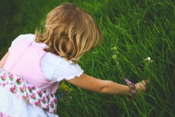 girl picking flower