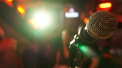 Microphone on a stage.