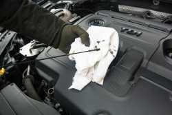checking oil in car