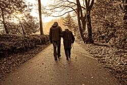 Older couple walking down road.