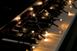 white lights on piano  keyboard
