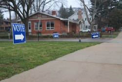Voting signs outside a polling location in Madison