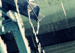 Rain gutter on roof.