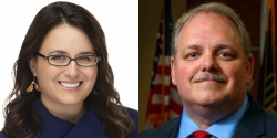 Wausau mayoral candidates Katie Rosenberg and Mayor Robert Mielke