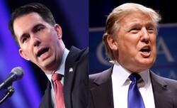 Walker, Left; Trump, Right