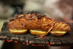 Cedar plank grilling.
