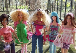Barbies with assorted skin tones and hair styles