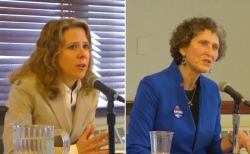 Supreme Court Justice Rebecca Bradley, left, and Appeals Court Judge JoAnne Kloppenburg. Photo: Gilman Halsted/WPR.