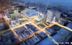 An artist's rendering of the Bucks' arena proposal