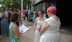 Cody Houston (pictured left) married Tina Cady (pictured right) at Madison's City-County Building