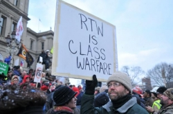 Right-to-work protest in Michigan
