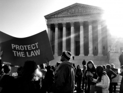 A rally in front of the Supreme Court of the United States in 2012.