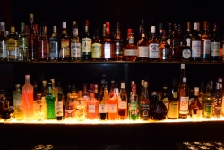 alcohol on bar