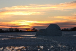 Igloo sunrise on Madison's Monona Bay, image by Michael Leland