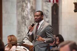 Representative David Bowen addressing the legislature