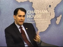Gov. Scott Walker appeared at a forum event at the Chatham House think tank during a trip to London.
