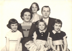 Black and white photograph of 1950s family