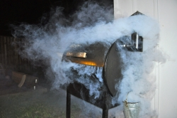 Grill with smoke emerging