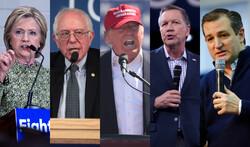 Hillary Clinton, Bernie Sanders, Donald Trump, John Kasich and Ted Cruz