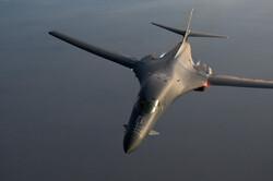 A B-1B Lancer aircraft flies over southern Afghanistan