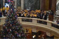 Gov. Scott Walker lights the Capitol Christmas Tree
