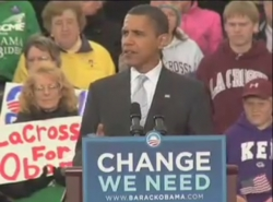 President Obama speaks in downtown La Crosse on Oct. 1, 2008