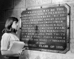"""""""Sifting and Winnowing"""" plaque at Bascom Hall"""