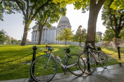 Bicycles outside the Wisconsin state capitol building