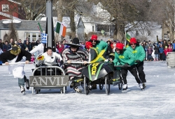 Bed races on ice at the Annual Winter Festival in Cedarburg