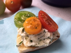 Ricotta and tomato bruschetta.
