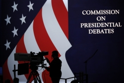 """""""Commission on Presidential Debates"""" sign"""