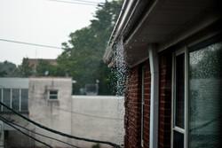 Water falling from a gutter