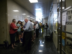 Line of couples leading to Dane County clerk's office.