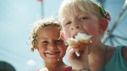 Girls enjoying ice cream at the Wisconsin State Fair