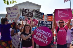 Abortion and anti-abortion demonstrators outside the U.S. Supreme Court