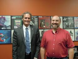 UW-La Crosse Chancellor Joe Gow and Faculty Senate Chair Brad Seebach
