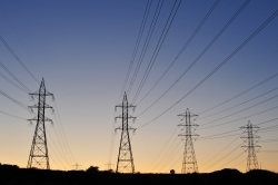 row of electric transmission lines