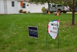 Pro-Trump and anti-Clinton signs