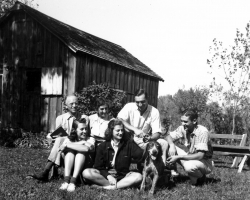 Aldo Leopold with family at the shack