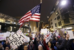 Protesters of President Trump's refugee order in Seattle