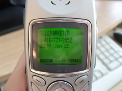 phone with telemarketer read out