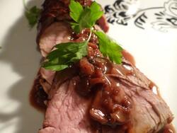 Pork tenderloin with a mushroom port wine butter sauce