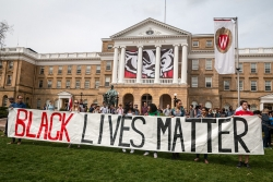 Students at a Black Lives Matter rally at the University of Wisconsin-Madison campus