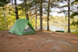 Campsite is set up on the Namekagon River