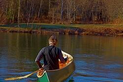Man canoeing on lake