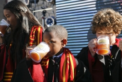 Kids dressed as Hogwarts students