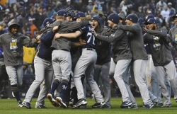 Milwaukee Brewers celebrate winning NLDS