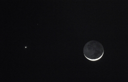 Venus, Mars and the moon